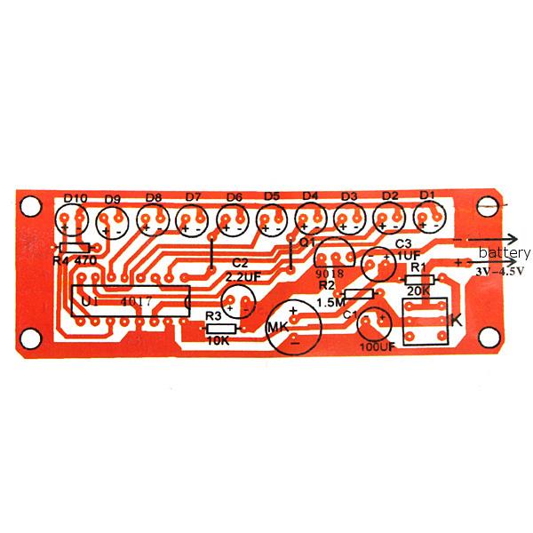 10Pcs CD4017 Light Water Voice Control Water Lamp Electronic DIY Kit