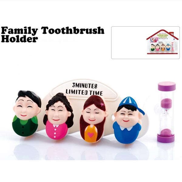 4 Set Happy Family Bathroom Toothbrush Suction Holder With Sand Clock