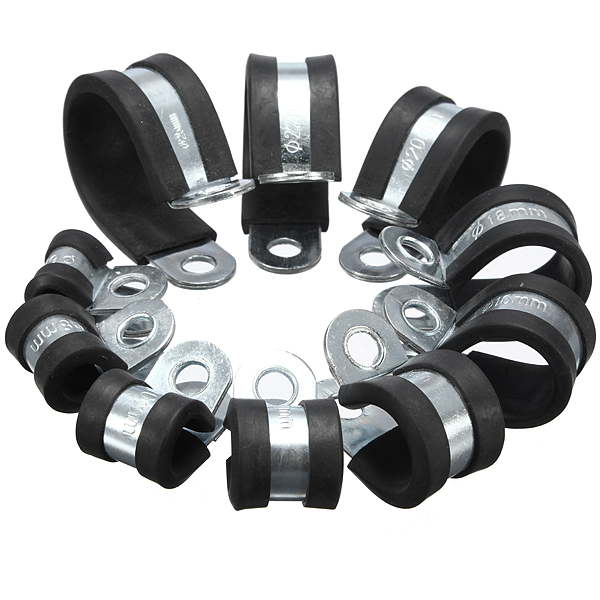 6-25mm EPDM Rubber Lined P Clip Cable Wire Fuel Hose Pipe Clamp