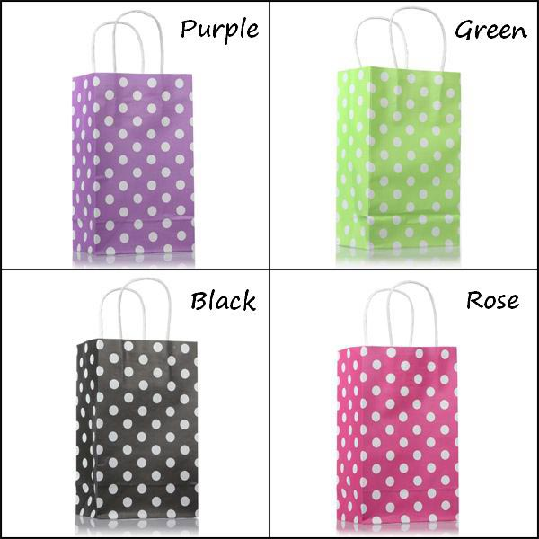 10Pcs Polka Dots Shopping Gift Paper Bags