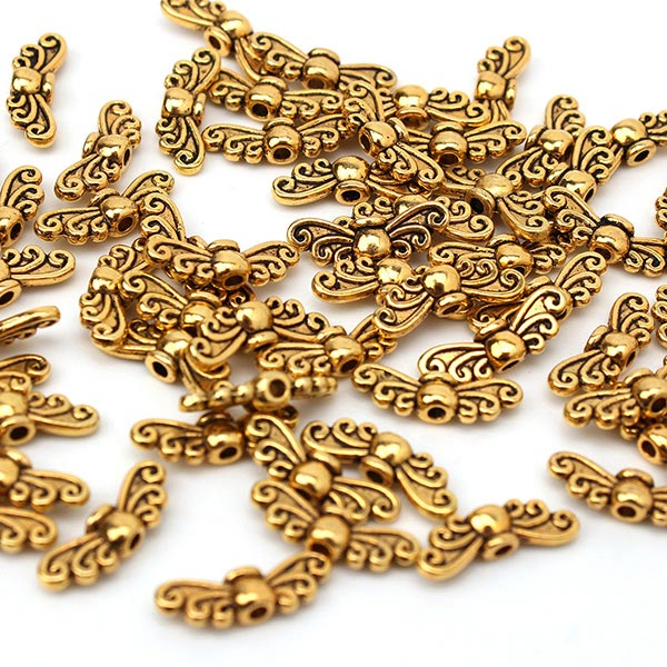 65pcs Vintage Gold Silver Butterfly Wing Jewelry Findings Spacer Beads