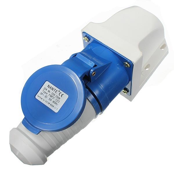 32A 3Pin Plug Wall Mount Socket Waterproof 220v-250v IP44 2p