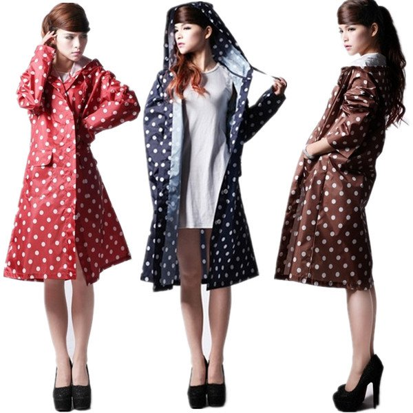 Women Girls Dot Travel Rain Coat Clothes Waterproof Rainwear Raincoat