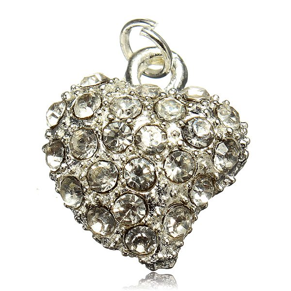 Silver Plated Love Heart Rhinestone Charm Bracelet Necklace Pendant