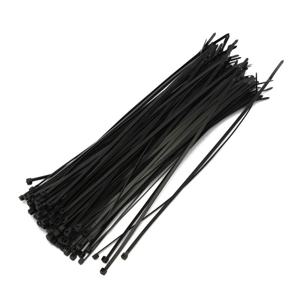 100 PCS Pack 12inch Black Network Cable Cord Wire Tie Strap Zip Nylon