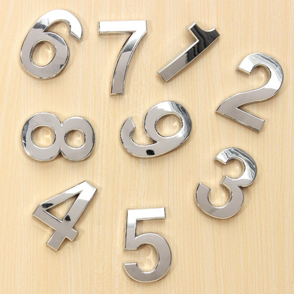 Silver House Room Numerical Doorplate Digits Door Number Signs