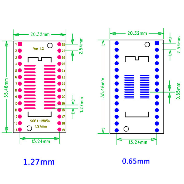 5Pcs SOP28 SSOP28 TSSOP28 To DIP28 Adapter Converter PCB Board Double Sides
