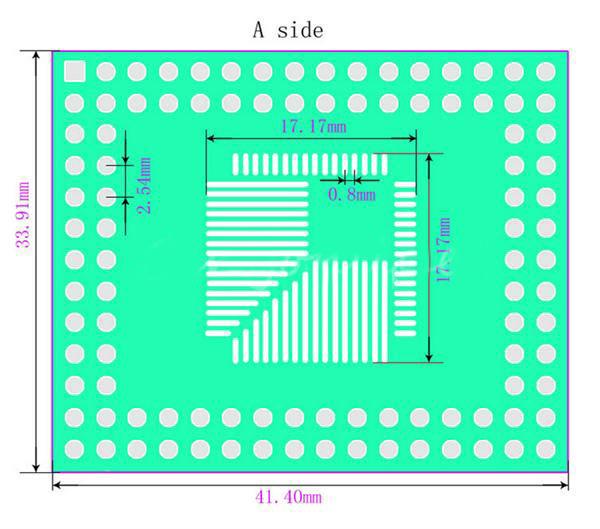5Pcs 0.5mm/0.8mm QFP/TQFP/LQFP/FQFP 32/44/64/80/100 To DIP Adapter PCB Board Converter