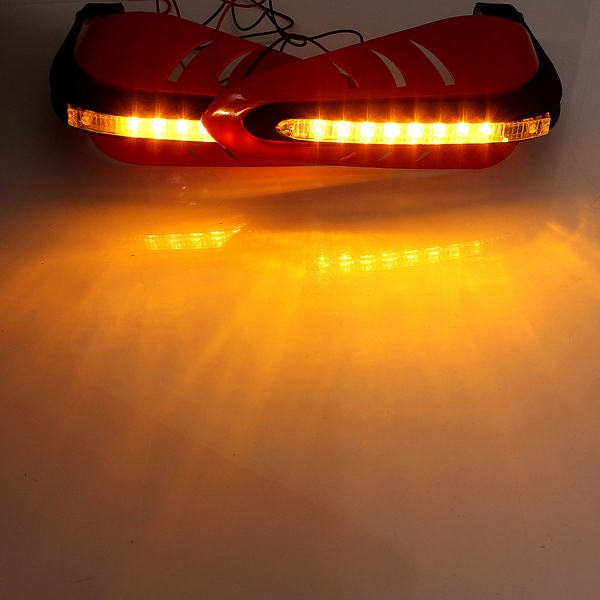 Motorcycle Protective DRL LED Indicator Light Brush Hand Guards Red