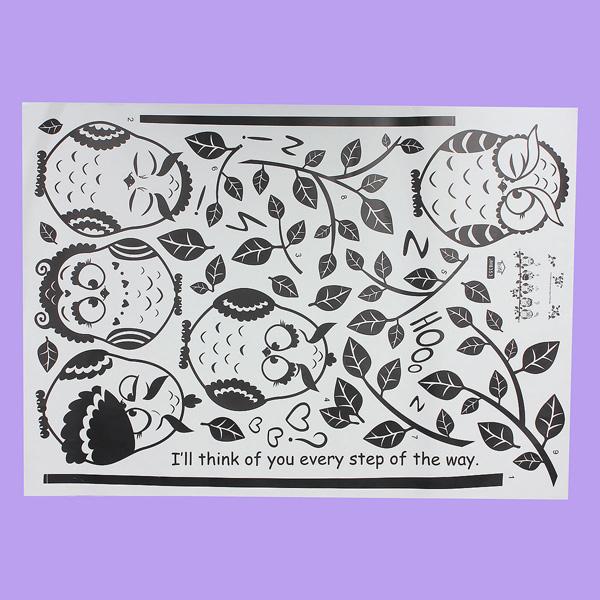 Owl Birds Kindergarten Kids Bedroom Home Decor DIY Wall Sticker