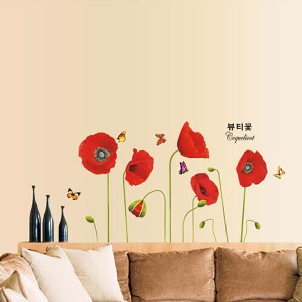 Corn Poppy Butterflies Wall Sticker Art DIY Home Decoration