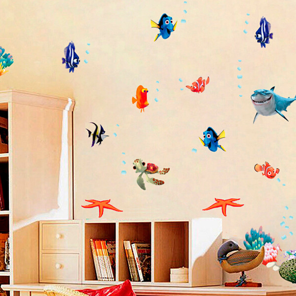 Undersea World Shark Fish 3D Cartoon DIY Decor Wall Sticker