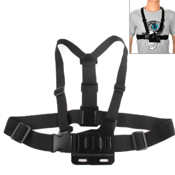 Chest Shoulder Strap + Elastic Adjustable Head Strap With 360 Degree Rotatable Mount For Gopro Hero