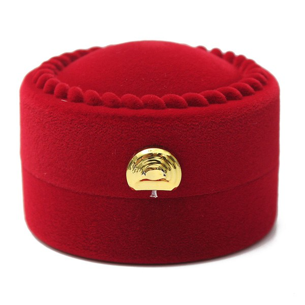 Red Velvet Round Shape Ring Earrings Jewelry Box Gift Box