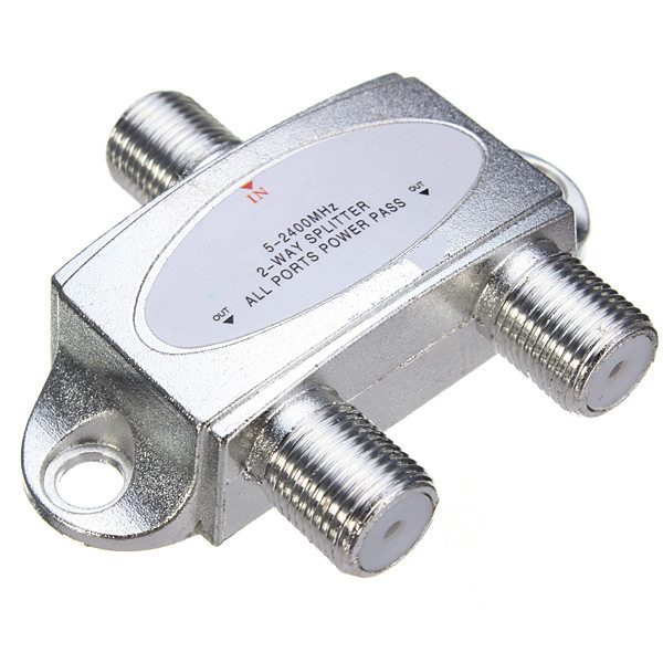 53 x 45 x 14mm 2-Way Satellite Cable Splitter 5-2400MHZ