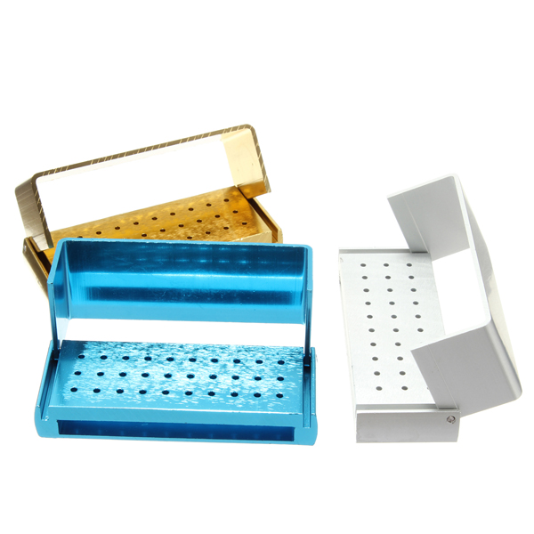 30 Holes Aluminium Dental Bur Box FG Burs Holder Block Case