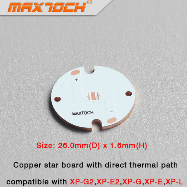 MAXTOCH CREE XP-L XP-G XP-G2 XP-3 XPE-2 Copper Base Board 26x1.6mm