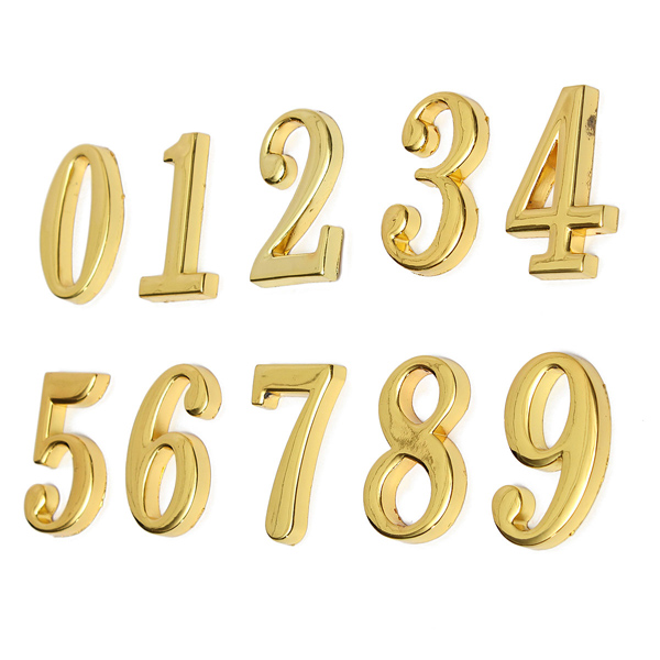 House Hotel Golden Doorplate Number 0-9 With Screws