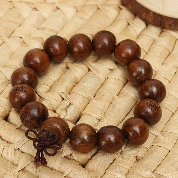 Brown Tibetan Sandalwood Carved Buddhist Prayer Bracelet Unisex