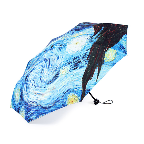 Van Gogh Starry Night Painting Sun Rain Folding Anti-UV Umbrellas