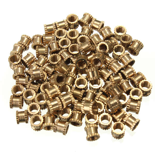 100pcs M3*4mm H62 Brass Knurl Nuts DIY Accessories