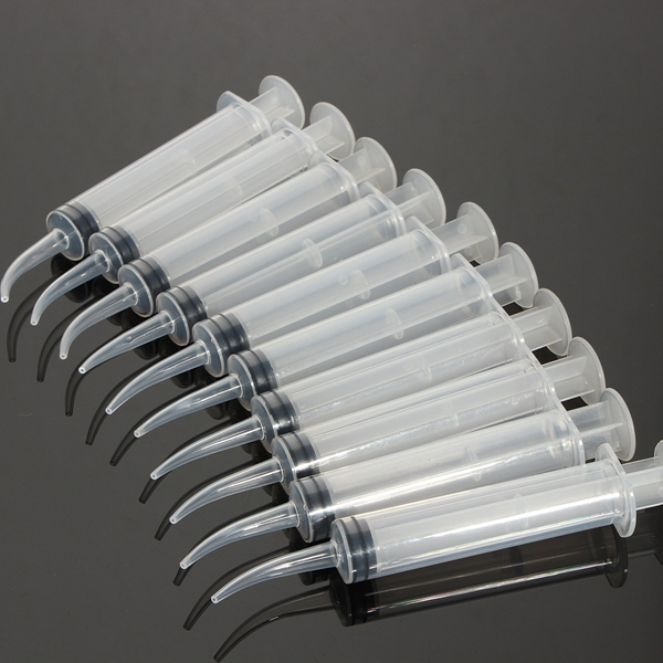 10pcs 12mL Disposable Curved Tip Syringe Injector For Dental