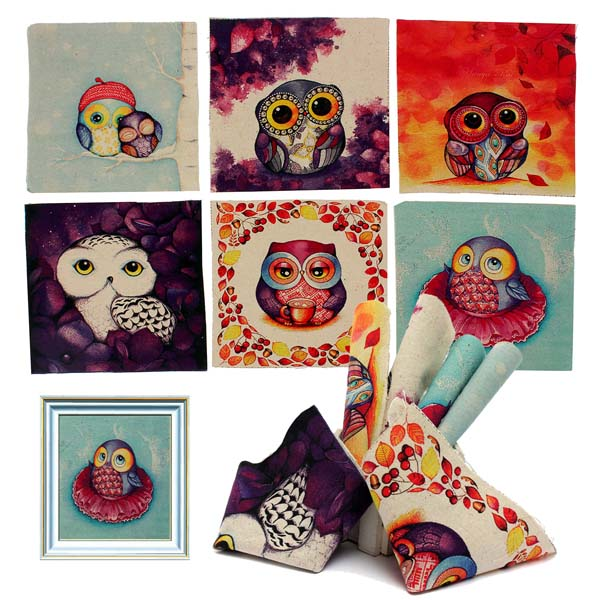 6pcs Cute Owl Printed Square Linen Fabric DIY Sewing Cotton Cloth