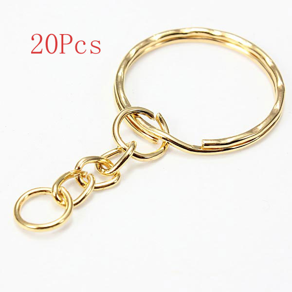 20Pcs Split Alloy Keyring Snake Chain Gold Silver Plated