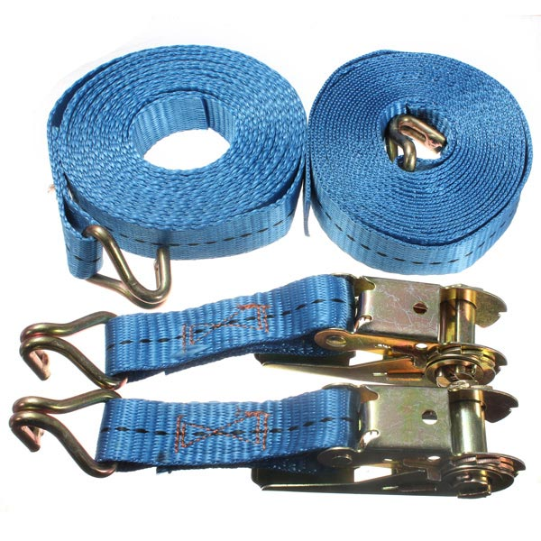 2 x Heavy Duty 6m x 35mm Ratchet Tie Down Strap With Hooks