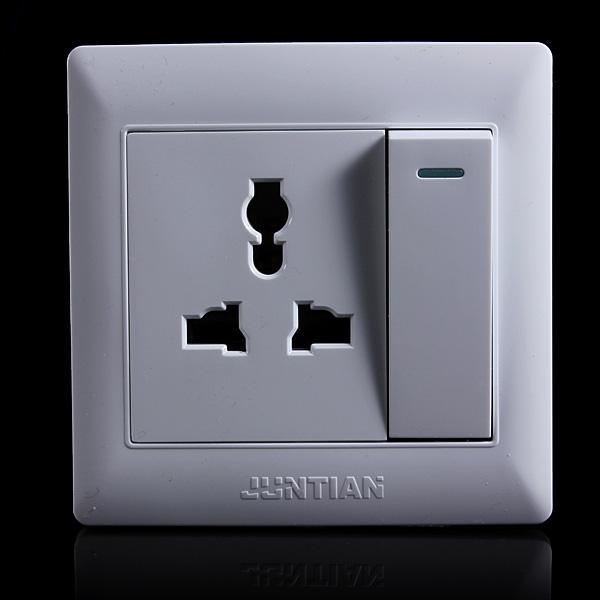 10A Single Gang 3 Hole Wall Outlet Socket Switch US/EU/UK Plug
