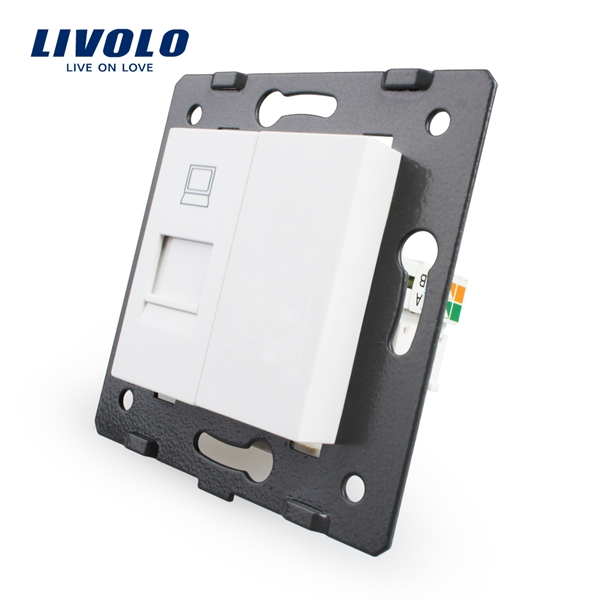 Livolo White Plastic EU Standard Function Key For Computer Socket