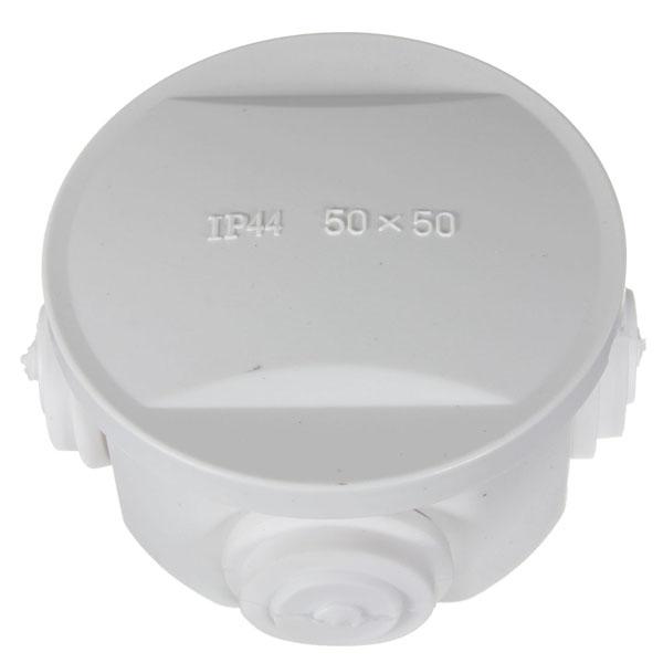 Round Weatherproof Junction Box IP44 75*75*40mm Grommets 50x50mm