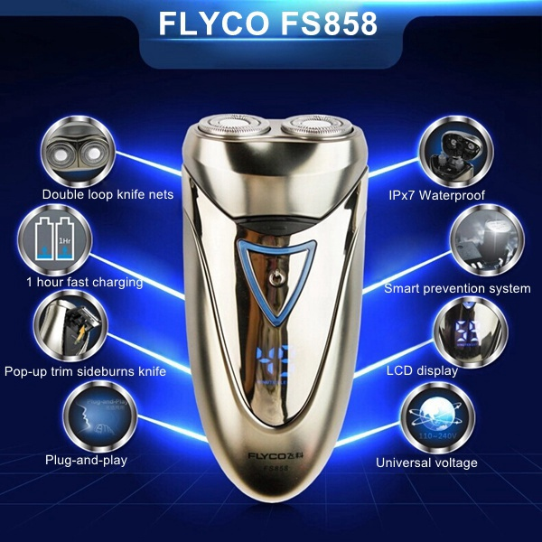 FLYCO FS858 Rotary Waterproof Shaver LCD Display Fast Charging Razor