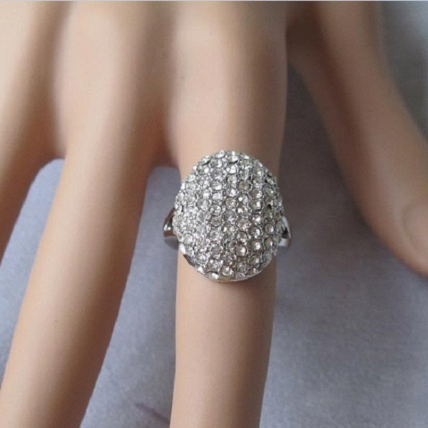 Women Silver Plated Crystal Rhinestone Wedding Finger Ring Jewelry
