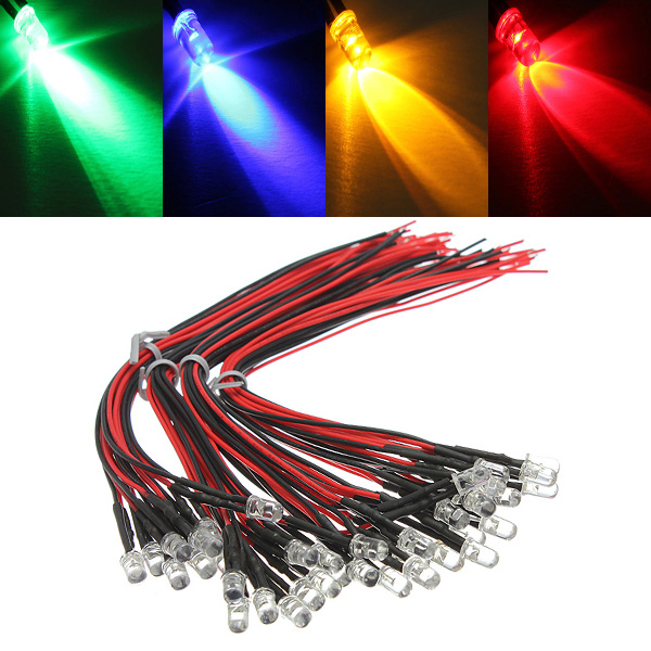 10pcs LED Lamp Light Bulb 20cm Pre Wired 5mm 12V DC Colorful Light