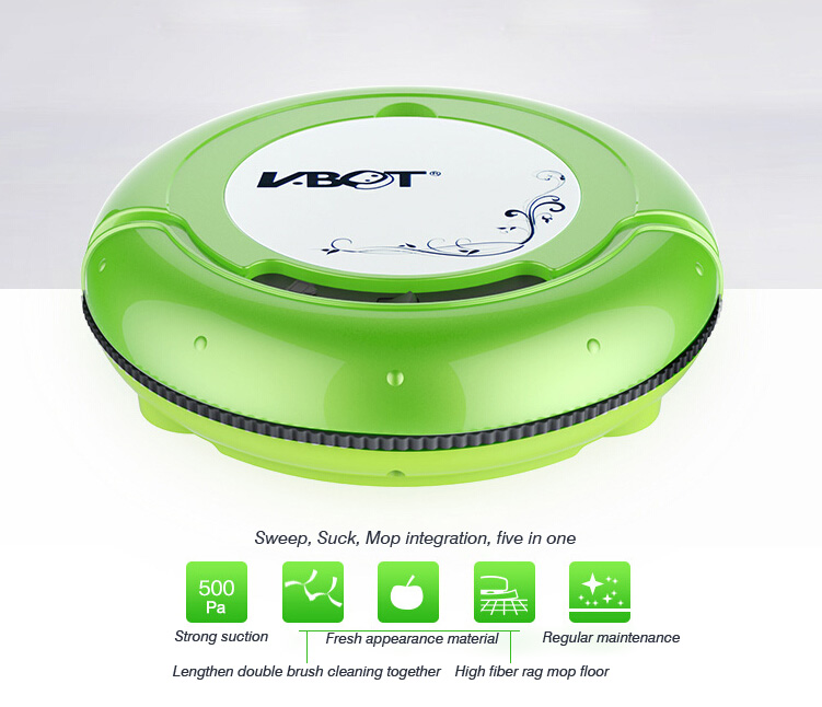 V-BOT T271 Ultra-thin Green Auto Robotic Smart Vacuum Dust Cleaner