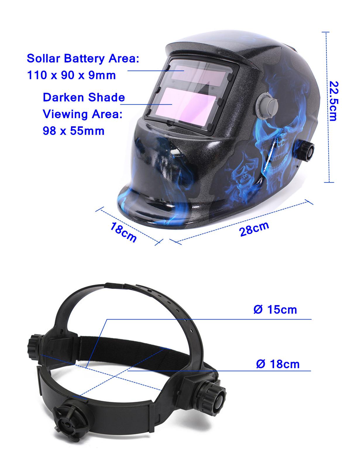 Blue Skull Solar Auto Darkening Welding Helmet Arc Tig Mig Grinding Welder Mask
