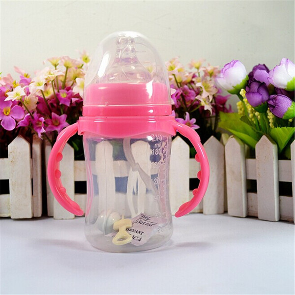 210ml PP Wide Mouth Infant Child Baby Feeding Bottle Silicone Nipple