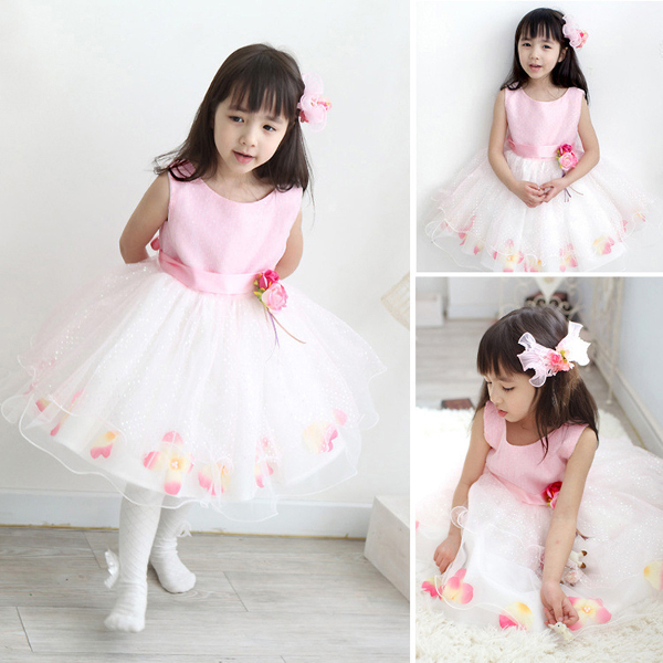 Baby Girls Flower Tulle Party Wedding Bridesmaid Pageant Dress