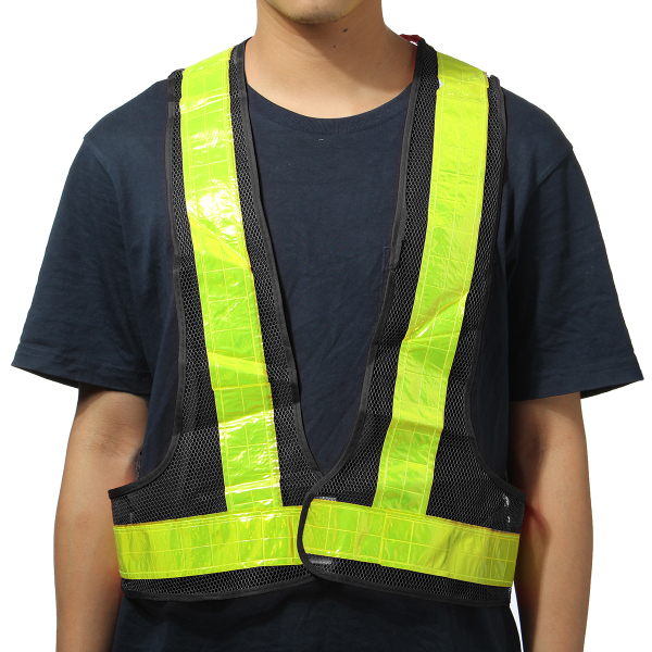 2pcs Black&Yellow Reflective Vest High Visibility Warning Safety Gear