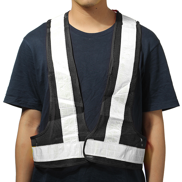2pcs Black&White Reflective Vest High Visibility Warning Safety Gear