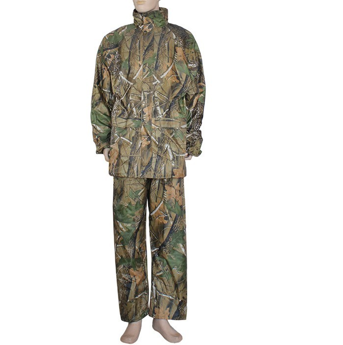 Camo Double-deck Fishing Coat Waterproof Suit Hooded Raincoat