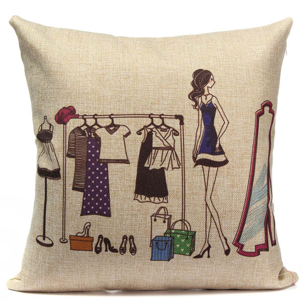 Cotton Linen Fashion Girl Pattern Sofa Bed Car Pillow Case
