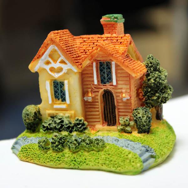 Mini Resin Villa Micro Landscape Decorations Garden DIY Decor