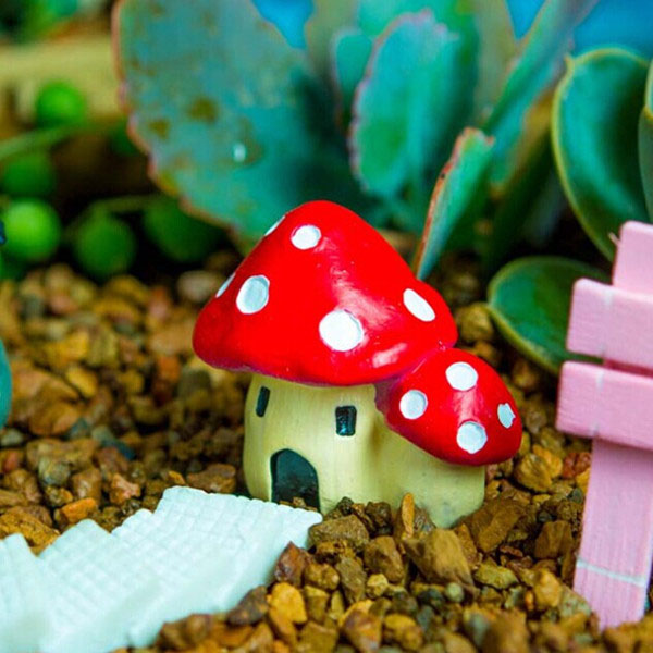 DIY Miniature Mushroom House Ornaments Potted Plant Garden Decor