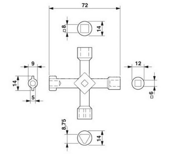 Universal Cross Key Train Electrical Cabinet Elevator Triangle Key
