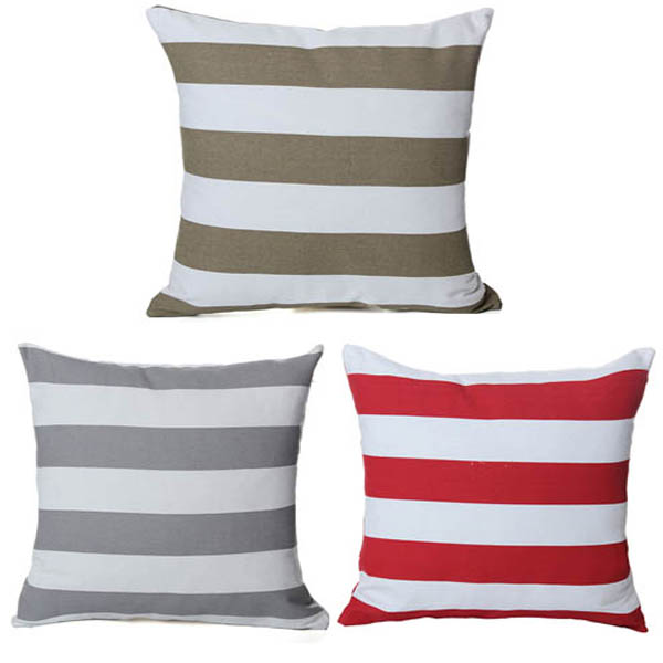 Stripe Canvas Throw Pillow Cover Bed Sofa Car Seat Pillowcase
