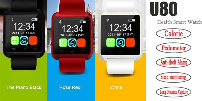 U80 1.5 Inch Bluetooth V3.0 MTK6260 Smart Health Wrist Watch