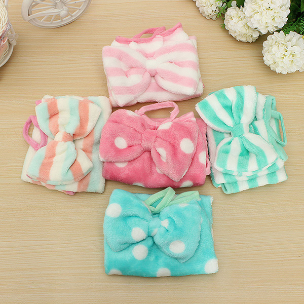 Cute Bowknot Hanging Velvet Hand Cleaning Dry Towels Bathroom