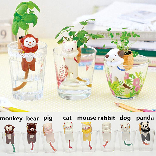 Cute Self-watering Animal Plant Pot Grass Flowerpot Office Decor